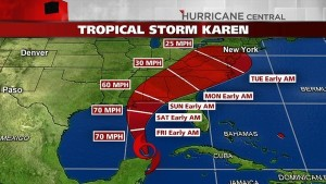 Screenshot of Tropical Storm Karen's projected path. It's pretty depressing, but by wishing a hurricane changes direction you're essentially hoping it hits someone else.