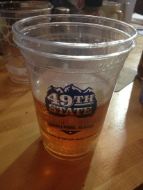 There's a lot of pride in Alaskan statehood. Here's a cup from the 49th State Brewery, near Denali National Park.