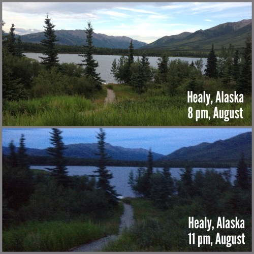 Pictures from the spot in Healy, Alaska, just outside of Denali National Park. In the summertime, there can be almost 12 hours of daylight in Alaska.