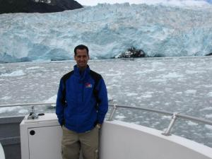Adam Pinsker in front of the Kenai fjords, his top recommendation in Alaska.